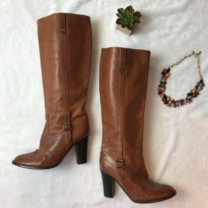 J. Crew Leather Heeled Riding Boots Sz 7.5 Brown
